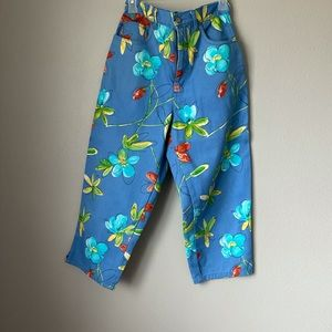 Vtg Bill Blass Easy Fit Sz 8 Floral Cropped jeans